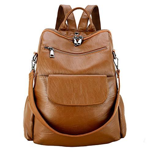 Women's fashion washed pu leather designer backpack best waterproof bookbags travel shopping rucksacks tote (Brown PU【Increase】)