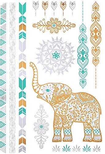 Tijdelijke tatoeages gouden indianen olifant emerald goud emerald tattoo voor dames en heren - tattoo - voor arm/been/kuit/arm/nek - 21x15cm