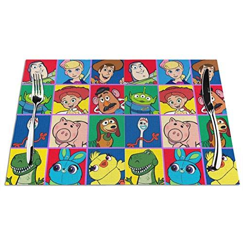 Nueey Group-Ruz-Toy Story Manteles individuales para decoración de escritorio de cocina, mantel individual cuadrado con aislamiento antideslizante de PVC para fiestas, juego de 4 unidades, color negro