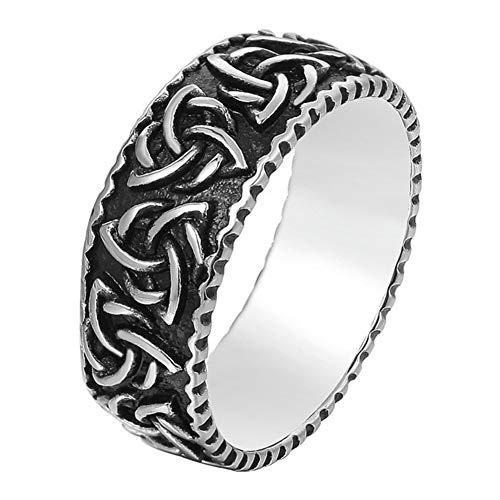 DFWY Anillo de Acero Inoxidable Celtic Knot Triquetra para Hombre, Nordic Viking Retro Punk Irish Trinity Knot Ring Pagan Jewelry, Unisex Vintage Punk Gothic Charm Talisman (Size : 09)