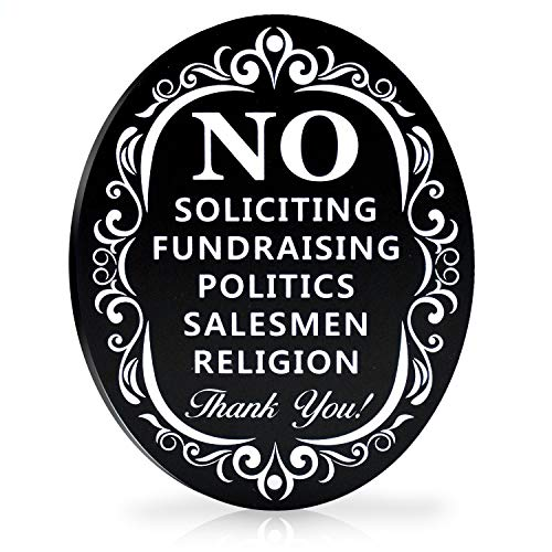 Signs Authority No Soliciting Sign for House - Metal Door Sign for deterring Unwanted Visitors - Say Go Away without Confrontation - Larger Laser Cut Oval 6 X 4.75