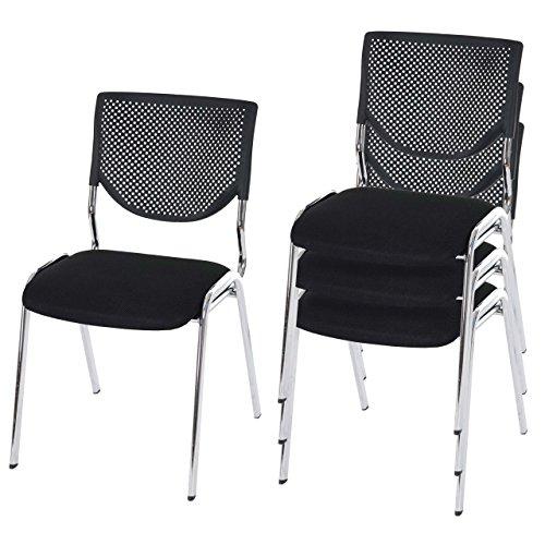 Mendler 4X Besucherstuhl T401, Konferenzstuhl stapelbar, Stoff/Textil - Sitz schwarz, Füße Chrom