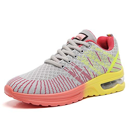Ezkrwxn Women Sport Running Shoes Athletic Tennis Walking Sneakers Mesh Breathable Comfort Gym Runner Jogging Shoes Grey Size 7