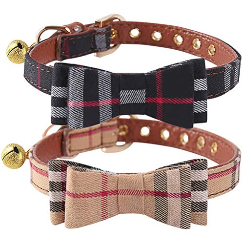 2 Pack Dog Collar with Bell - Plaid Small Dog Collar Charm Adjustable Bowtie Soft Leather Cat Collar for Kitten and Puppy