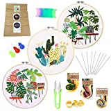guofa Hand Embroidery Kits for Beginners - 3 Sets Stamped Embroidery Starter Kit Cross Stitch Set Adults Crafts Sewing Projects (Floral Pattern 1)