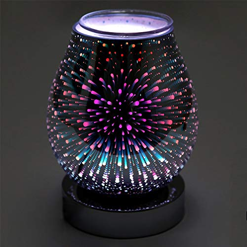 Carousel Home and Gifts Glass Colour Changing Led Aroma Diffuser | Galaxy Electric Wax Melt Burner | Essential Oil Fragrance Burner | Aromatherapy Lamp - Design Varies One Supplied