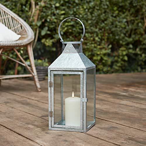 Lights4fun Silberne Metall Laterne inkl. TruGlow® Kerze mit Timer für Innen & Außen 37,5cm