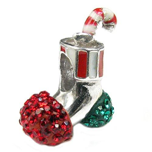 Queenberry Sterling Silber Weihnachts-Zuckerstange Socken Strümpfe mit Rot Kristall Anhänger für Pandora/Troll/Chamilia Biagi/europäische Charm-Armbänder