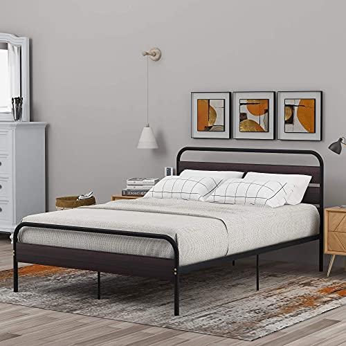 QWEPOI Estructura de cama con cabecero y estribo de 140 x 200 cm, cama individual con gran espacio de almacenamiento para adultos, niños y adolescentes, color negro