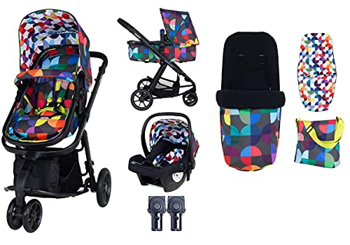 Cosatto Giggle 2 pram and Pushchair in Kaleidoscope with Car seat Bag Footmuff and Raincover