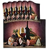 Copas de Vino Tinto UVA Comida Vintage Mantel Individual de Madera Juego de 6 manteles Individuales de Cocina Resistentes al...