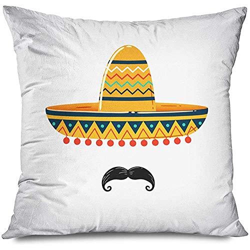 Wen-shop Cojín Cojín Mexicano Charro Cinco Sombrero Fiesta De Outfit Disfraz Latina Bigote España Gorra Fiesta Paja Mayo Cojín