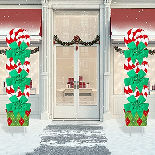 2 Set Christmas Candy Yard Sign Decorations Outdoor 44 Inch Large Peppermint Xmas Yard Stakes Holiday Yard Decor Signs with 2 Rolls 3.28 Yards LED Light for Lawn Pathway Walkway Candyland Themed Party