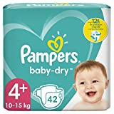 Couches Pampers Taille 4+ (10-15kg) - Baby-Dry, 42Couches, Jusqu'À 12h De Protection
