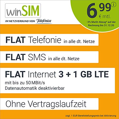 Handyvertrag winSIM LTE All 3 GB + 1 GB - ohne Vertragslaufzeit (FLAT Internet 4 GB LTE mit max. 50 MBit/s mit deaktivierbarer Datenautomatik, FLAT Telefonie, FLAT SMS und EU-Ausland, 6,99 Euro/Monat)