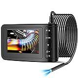 Endoscopio Industrial Cámara de Inspección 4.3 Pulgadas 1080P Pantalla LCD HD Endoscópica Impermeable IP67 Cámara de Boroscopio de 8 mm Cámara de Serpiente con 6 Luces LED Tarjeta de Memoria 16G (5m)