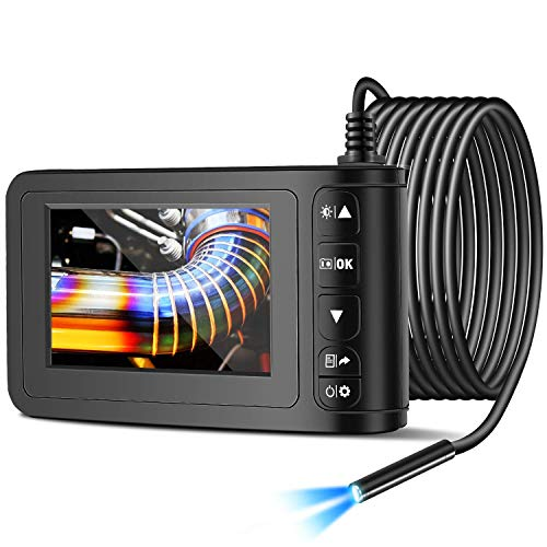 Facamword Industrial Endoscope Inspection Camera with 4.3 inch LCD Color Screen 2MP HD 1080P Borescope Camera Snake Camera 8mm Waterproof with 6 LED Lights (5m/16.4ft)