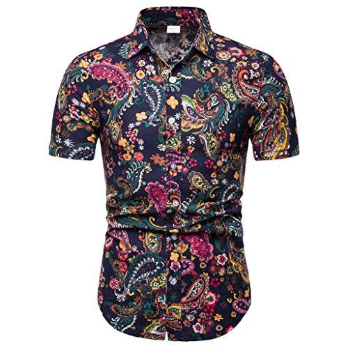 Homebaby Camicie Uomo Estive Casuale Maglietta da Uomo Eleganti Vintage T-Shirt Top Sportivo Allentato Manica Corta Uomo Fitness Tops Palestra Camicie Uomo Slim Fit