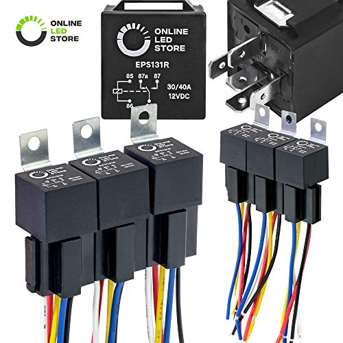 ONLINE LED STORE 6 Pack Bosch Style 5-Pin 12V Relay Kit [Interlocking Harness Socket Holder] [14 AWG Hot Wires] [SPDT] [30/40 Amp] 12 Volt Automotive Relays for Auto Fan Cars