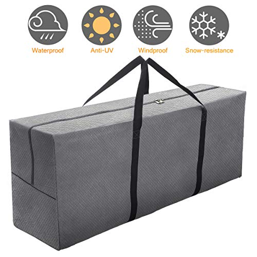 Tvird Garden Furniture Cushion Storage Bag, 200L Super Large Outdoor Garden Patio Cushion Storage Bag, 600D Waterproof Heavy Duty Christmas Tree Storage Bag with Carry Handle(125x50x32 cm)