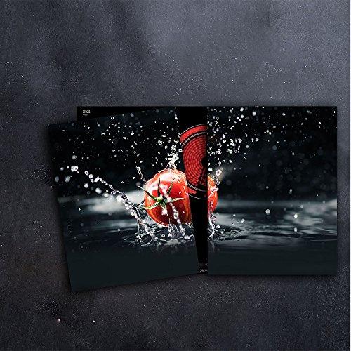 DAMU Herdabdeckplatten 2 x 40 x 52 cm Ceranfeldabdeckung Schutz Herdblende 80x52 2teilig Glas Spritzschutz Abdeckplatte Glasplatte Herd Ceranfeld Abdeckung Schneidebrett Tomate Gemüse