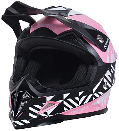 Actionbikes Motors Kinder Cross Helm Hornet ECE 22/05 Norm - Straßenzulassung - Motocross - Crosshelm - Downhill - Fullface (Pink, M)