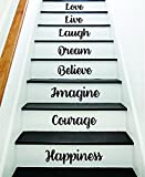 Boop Decals Happiness Courage Imagine Stairs Quote Wall Decal Sticker Decor Room Art Vinyl Joy Peace Fitness Family Home House Staircase Love Beautiful Inspirational Laugh Love Live