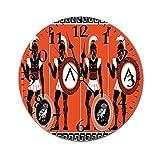 Lewiuzr Reloj de Pared Redondo Toga Party, Figuras artísticas históricas de Guerreros en la Antigua Grecia, Reloj con Pilas de Tema Militar