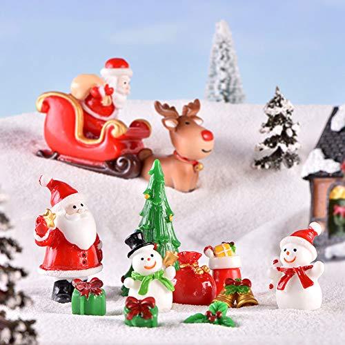 LbojailiAi 1 Stück Weihnachten Harz Garten Bonsai Decor Schneemann Santa Socken Figur Mini Handwerk Fee Elch## Zufälliger Stil