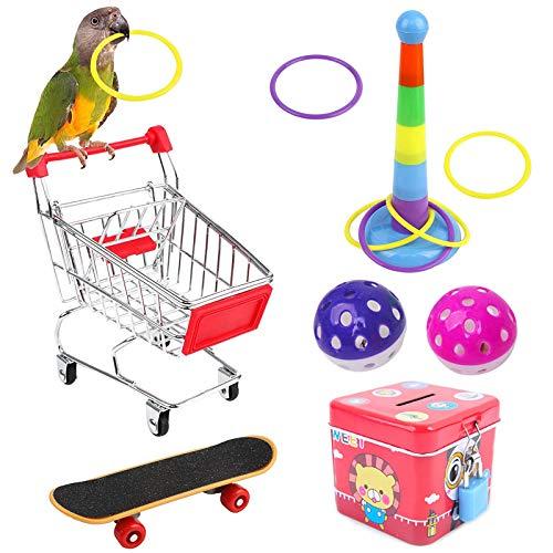 Giocattoli per Uccelli Set 7pcs Addestramento Pappagalli Giocattoli Pappagallo mini carrello della spesa skateboard anello di allenamento campana pappagalli Giocattoli per addestramento Accessori