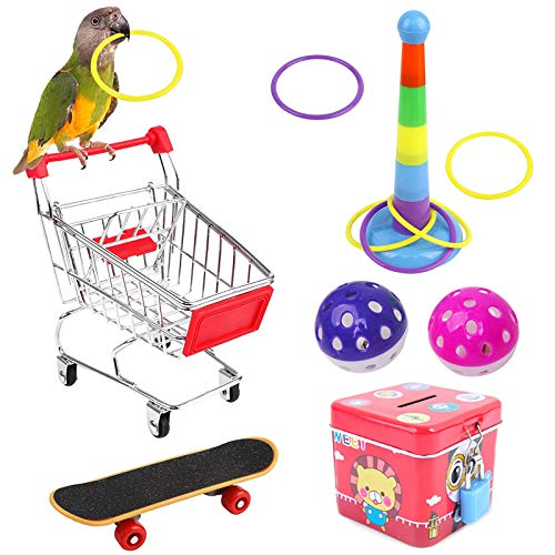 NAMIS 7 stks Papegaai Speelgoed Papegaai Puzzel Speelgoed Set Mini Winkelwagen Training Ringen Skateboard Bell Bal Vogel…
