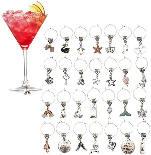 Sangle Sopffy Wine Glass Markers Tags 28 PC Drink Glass Vintage Charms Decorations Great Identification product image