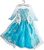 Tante Tina Disfraz de princesa de hielo para niña, con estampado de copos de nieve, color azul, plateado y blanco, talla 110 (104-110)