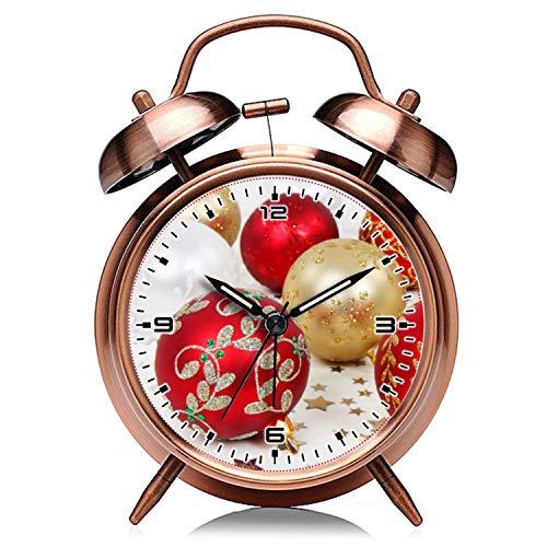 girlsight Weihnachtskupfer Retro Clock Silent mit Nachtlicht Double Bell Wecker 373.Festlicher Feiertags-Weihnachtsverzierungs-Hintergrund Wecker