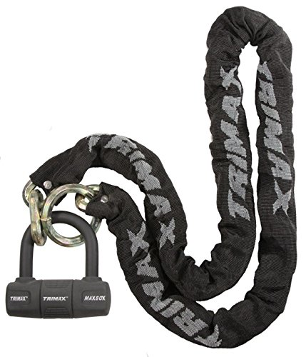 Trimax Thex Super Chain 5' L with 12Mm Links & Max60 Disc U-Lock THEX5060, Wrap Packaging