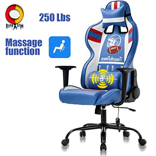 High Back Gaming Chair Ergonomic Racing Heavy Duty Office Chair Reclining Pc Video Game Chair, Massage Function Lumbar Support with Arms & Headrest Chic Desk Chair, Swivel Adjustable Best Game Chair