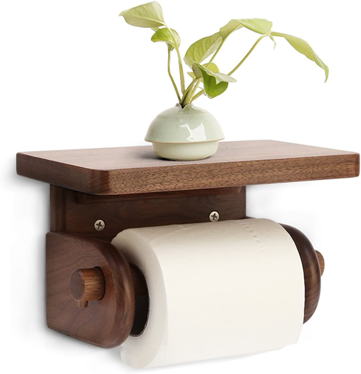 WENZHE Over Toilet Bathroom Toilet Roll Holder Storer Wall Mounted Tissue Box Wooden, 3 Models 19  12  11.5cm Storage Racks Unit (color   Walnut)