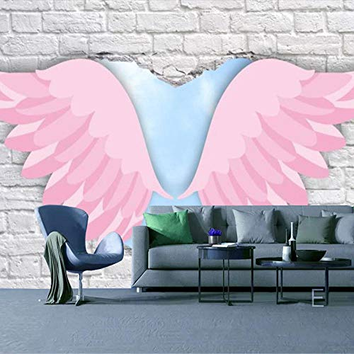 RTYUIHN 3D Wallpaper Mural Angel Wings Girl Heart Pink Bedroom Living Room Modern Wall Art Decoration