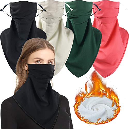 4 Pack Women Face Scarf Mask with Filter Pocket Winter Fleece Neck Gaiter Warmer Thermal Windproof Face Cover Balaclava (One Size, Solid Color(Black+Light Khika+Pink+Green))