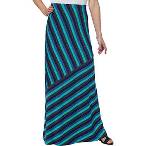 Matty M Ladies Long Skirt-Blue Stripe, Teal, XS
