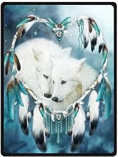 Wolf Dreamcatcher Dream Catcher Soft Fleece Travel Blankets Throws - 58 by 80 Inch