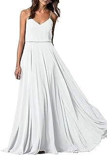 Jonlyc Women's 2019 V-Neck Spaghetti Straps Long Bridesmaid Dress Chiffon A Line Prom Dress