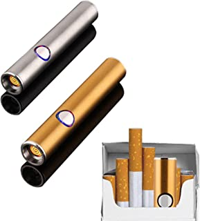 2 Pack Mini Electric Lighter/USB Rechargeable Windproof Coil Slim Portable Lighter/No Gas Flameless Cigarette Lighter with USB Charging Cable