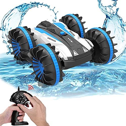 Joyjam RC-Autos, wasserdichtes Stunt-Auto, Amphibien-ferngesteuertes Auto mit 2 Seiten, zum Autofahren auf Wasser und Land, elektrische Fernbedienung, Spielzeug für Jungen, blau