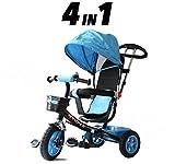 Childs 4en 1Tricycle?Bleu et Noir?Push Along Pédale enfants Tricycle Approuvé CE
