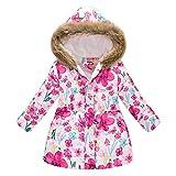 BGFR - Abrigo para niña de invierno con forro polar grueso y cálido con capucha, 2 a 11 años