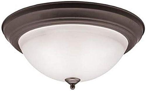 "Kichler 8116OZ Flush Mount Round Glass Ceiling Lighting, Bronze 3-Light (16"" W x 7"" H) 180 Watts"