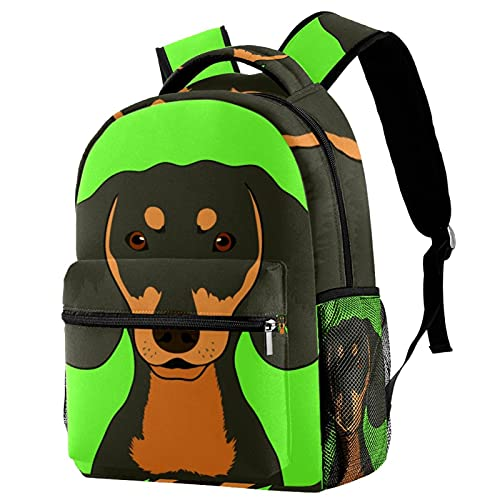 Liangbaiwan Mochila para niñas Niños Mochila Equipaje Bolsa de viaje Mochila Perro de Tanhound negro austriaco con cremallera de bolsillos de red