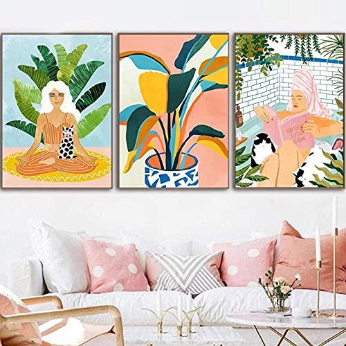 XMYC Canvas väggkonst Hur man har en spa dag hemma affisch nordisk meditation natur W dekorativ bild skandinavisk dekor 3 delar 60 x 80 cm (23,6 x 31,5 tum) ingen ram