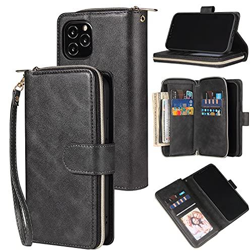 SZCINSEN Funda tipo cartera para iPhone 12 Pro Max de 6,7 pulgadas, cuero sintético suave de alta calidad con cierre de cremallera y correa para